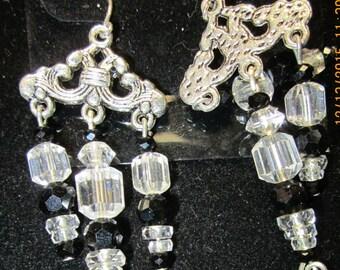 Earrings Jen 9 silver crystals black beads