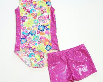 Girls Leotard - Gymnastics Leotard - Dance Leotard - Shorties - Ballet Leotard - Tumbling Leotard - Girls Sparkle Leotard - Shiny Leotard