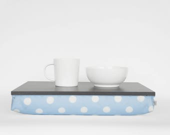Slow Sunday breakfast in bed serving tray, laptop stand- graphite grey tray with light blue and white polka dot Pillow