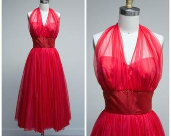 Vintage 1950s Dress • Soiree • Red Chiffon 50s Halter Dress by Lilli Diamond Size Small