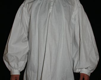 Men's 18th Century shirt costume with button collar and cuffs 2XL