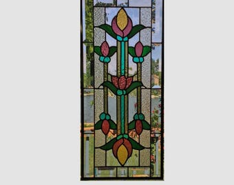 Beveled stained glass panel window Art Deco purple yellow flower  stained glass window panel window hanging flower 0252 24 1/2 x 11
