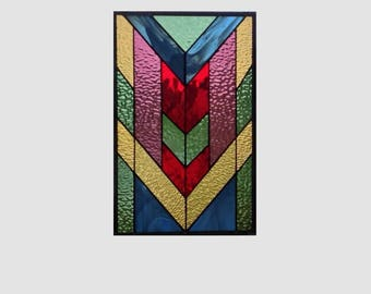 Arts and crafts mission stained glass panel window hanging amber stained glass window panel prairie style glass 0229 10 1/2 x 16 1/2