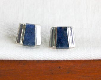 Lapis Post Earrings Vintage Mexican Sterling Silver Art Deco Posts Studs Cobalt Blue Modern Everyday Jewelry