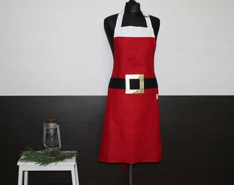 Santa Claus Apron, Ready to Ship Linen Apron, Santa's Kitchen Apron, Christmas Apron with Pocket, Christmas Gift for cook or baker