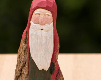 Hand Carved Cottonwood Bark Santa--Robin Arnold, wood carving,Wooden Christmas Art, Rustic, Folk Art, Handmade in Ohio, relief carving,