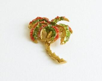 Vintage Tropical Palm Tree Gold Tone Coral & Peridot Pin Brooch