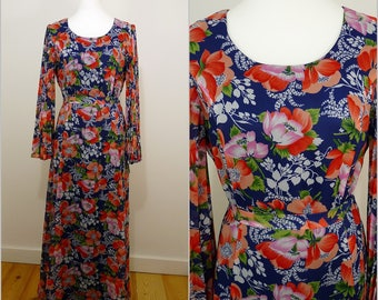 VINTAGE 1970s Bohemian Blue Orange Pink Flower Pleated Sleeve Maxi Dress UK 14 F 42 / Bold Floral / Ethereal