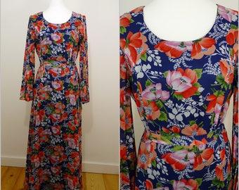 VINTAGE 1970s Bohemian Blue Orange Pink Flower Pleated Sleeve Maxi Dress UK 14 F 42 / Bold Floral / Ethereal