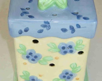 """PFALTZGRAFF """"SUMMER BREEZE"""" Two (2) Piece Large Pierced Candle or Incense Holder - Blue & Light Yellow"""