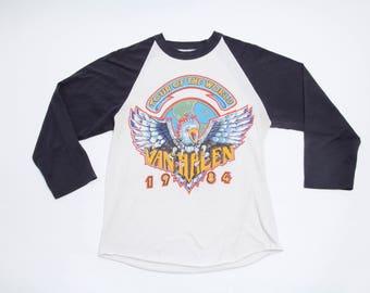 Vintage Van Halen Tour of the World 1984 Concert Baseball T-Shirt