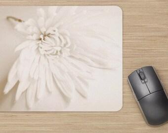 Mouse Mat, Flower Mouse Pad, Mousepad, White Mouse Mat, Floral Mouse Mat, Desk Accessories