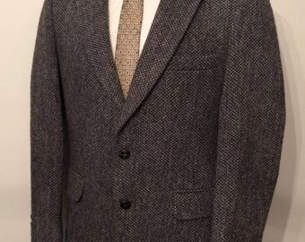 Vintage MENS Harris Tweed black & grey wool jacket, sport coat or blazer, made in U.S.A.
