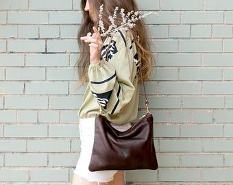 LEAH Brown Leather Shoulder Bag. Brown Leather Crossbody Purse. Cross body Shoulder Bag. Crossbody Bag.