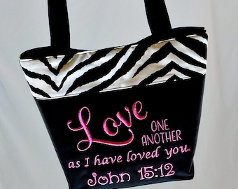 Zebra Print SCRIPTURE PURSE John 15:12 Love One Another, Bible Bag, Quote Purse, Faith Bag, ready to ship