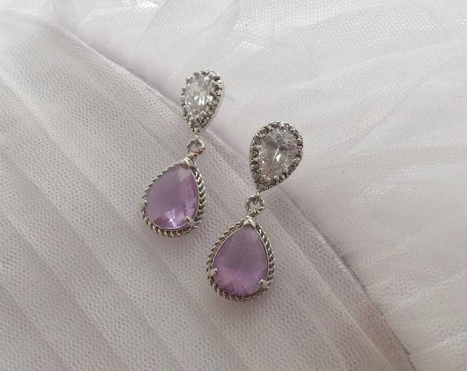 Amethyst bridal earrings, Lavender Purple Bridal Earrings, Silver Crystal Drop Earrings, Vintage Style Wedding Earrings, Dangle Earrings