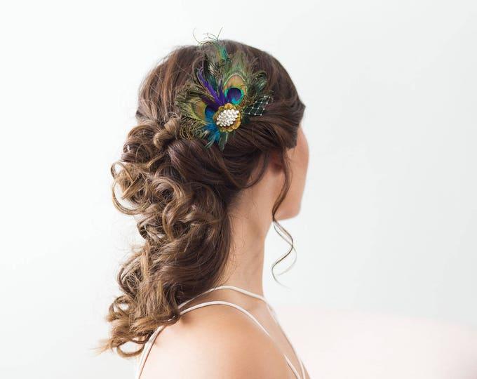 Royal Blue Peacock Hair Clip Bridal Head Piece Peacock Feather Fascinator Wedding Hairpiece Sapphire Vintage, Wedding Hair Accessories