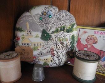 Primitive Vintage Grandma Moses Bark Cloth  Pin Keep Deep Snow Pin Cushion Ornament