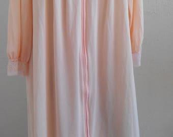 Robe Nylon Gossard Artemis Dressing Gown Peach Full Length Size Medium