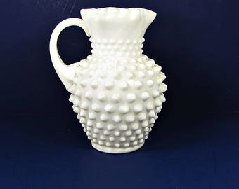 Vintage FENTON HOBNAiL PITCHER Milkglass Milk RUFFLED Rim SiGNED