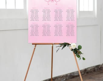 Reception Seating Chart, Wedding Reception Sign, Day Of Stationery - Ornate Heart, Pink Ombre (Style 0016)