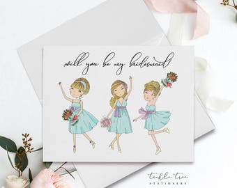 Will You Be My Bridesmaid Card, Folded Note Card