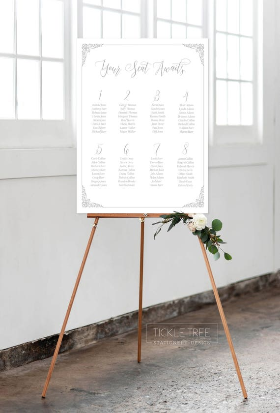 Seating Chart - Ornate Design/Scroll Work/Script Fonts (Style 0015)