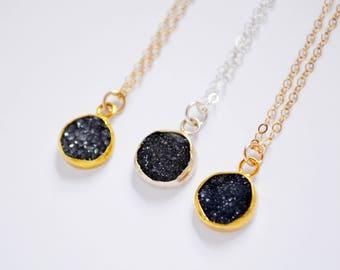 Druzy Necklace, Black Druzy Necklace, Stone Necklace, Black Druzy Stone Pendant, 14kt Gold Filled or Sterling Silver