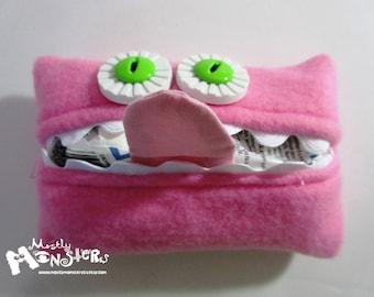 Kleenex Kreature; Tissue Holder; Pocket Tissue; Travel hankie;  back to school; purse pal; tissue cover; bubblegum pink tissue monster