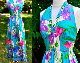1960's Tropical Floral Maxi Halter Dress / Vintage Bright Blue Long Dress / Small