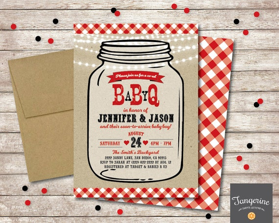 Baby Q Shower Invitation Mason Jar BBQ