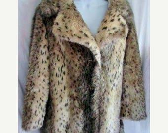 On Sale Women's CALCUTTA BY Hilmoor Faux Fur jacket coat LEOPARD Cheetah Jaguar Vintage 1960's xl 1x Jacket Mad Men Mod Winter Essential