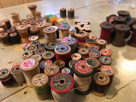 Large Lot of Antique & Vintage Thread on Wooden Spools - 96 in all