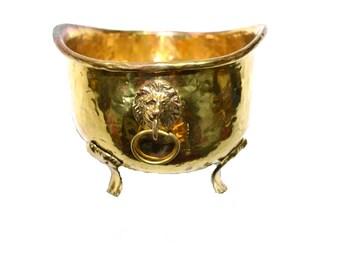 Brass Planter Brass Lion Planter Brass Lion Head Planter Hammered Brass Planter Brass Footed Planter Brass Cachepot