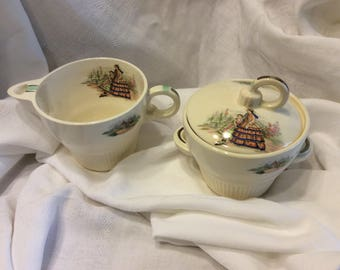 Codey Prints Ecru Rib Salem China Creamer and Sugar Bowl 1940's Victory Shape