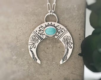 Crescent Moon Turquoise Stamped Boho Sterling Silver Necklace Tribal Style