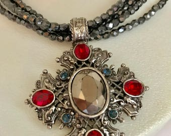 1928 Brand NECKLACE Stylized Cross Rhinestones BLUE Red Iridescent