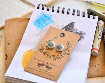 Grey stud earrings, cloud grey earrings, ceramic earrings, slate earrings, gray art earrings, simple pebble studs, urban silver gray granite
