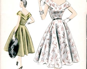 Pretty Vintage 1950s Vogue Special Design S-4501 Wide V Neck Day or Cocktail Dress Sewing Pattern B32