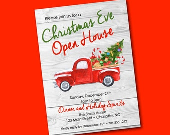 Christmas Invitation Digital Truck Christmas Tree Holiday Party