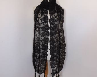 Antique Victorian Mourning very long black lace scarf stole wrap floral with tassel edging detail