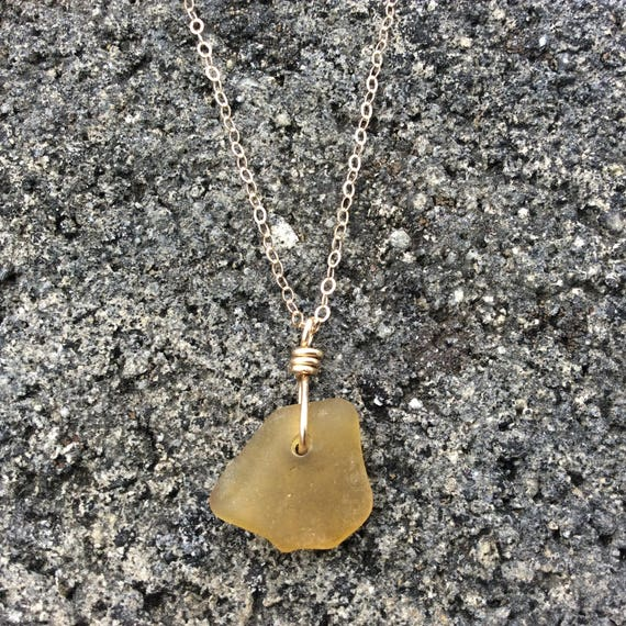 Auburn Surf Tumbled Seaglass, 14k Gold Filled Chain Necklace