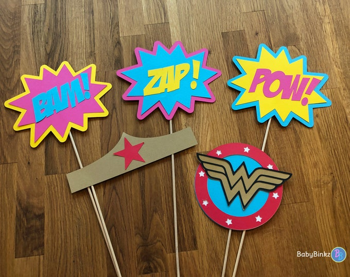 Photo Props: The Wonder Woman Inspired Super Hero Set (5 Pieces) - party wedding birthday justice league wonderwoman female centerpiece