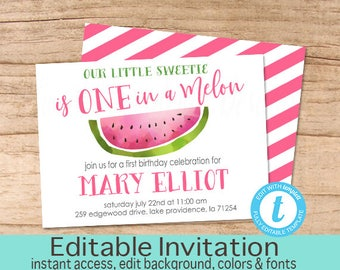 Watermelon Invitation, Girl First Birthday Invite, One in a Melon, sweet one, summer, Editable birthday template, Templett, Instant Download