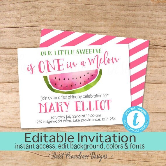 watermelon invitation girl first birthday invite one in a melon