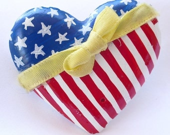 Tie A Yellow Ribbon - Stars and Stripes - Fourth of July Heart Brooch - Red White and Blue Pin - Independence Day USA Patriotic Jewelry