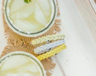 Braided Leather Bracelet Trio / Margarita