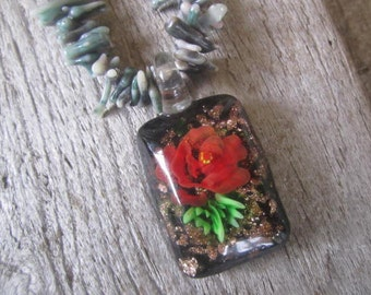 coral necklace with a flower in glass, colorful tropical necklace, resort jewelry, stunning one of a kind design