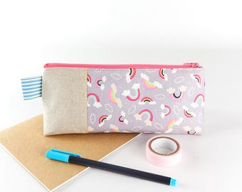 Rainbow Pencil Case Large Zip Pouch Cloud Fabric Girls Pencil Case or Cute Makeup Bag