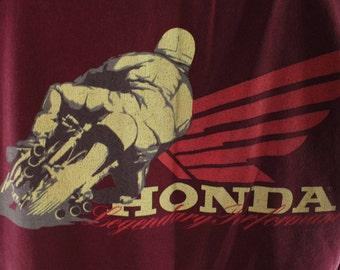 Vintage 80s Honda America Shirt Short Sleeves Maroon Knit T-Shirt 1980s XL X-Large Motorcycle Biker